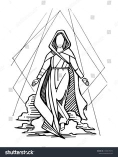 Hand drawn vector ink illustration or drawing of Virgin Mary and sky Jesus Drawings, Doodle Drawings, Bible Art, Book Art, Croix Christ, Virgin Mary Art, Tattoo Line, Drawing Competition, A Kind Of Magic