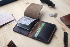 Personalized money clip wallet, money clip card holder, Black Horween Chromexcel