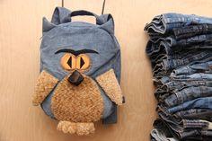 Owl backpack, denim backpack , upcycled denim backpack , jeans kids toddler backpack , funy backpack , denim bag , childrens backpack by SecondBirthday on Etsy