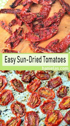 Flavor packed Sun-Dried Tomatoes are super easy to make at home. Make delicious dried tomatoes using my easy and efficient oven drying method. Dried Vegetables, Fruits And Veggies, Make Sun Dried Tomatoes, Dehydrated Food, Dehydrator Recipes, Vegetable Dishes, Tomato Dishes, Canning Recipes, Vegetable Recipes