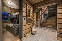 Cabin Interior Design, Interior Decorating, Log Home Interiors, Deco Nature, Wooden House, Log Homes, House Ideas, Home Decor, Elevated Bed
