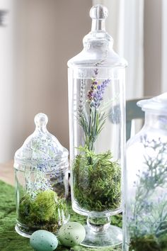 Apothecary Jar Terrarium Easter Centerpiece | blesserhouse.com - An apothecary jar terrarium Easter centerpiece and tablescape for a vintage style look with a budget-friendly price tag, plus more Easter entertaining ideas #eastertablescape #terrarium