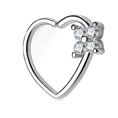 BodyJ4You 16G (1.2mm) Daith Piercing Clear CZ Square Heart Silvertone Helix Earring Cartilage Hoop Piercing Jewelry
