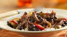 Slow-Cooker Cuban Flank Steak - Add something tasty to your family's Cuban dinner! Enjoy this slow-cooked steak recipe made with Progresso® black beans and rice. Best Slow Cooker, Crock Pot Slow Cooker, Crock Pot Cooking, Slow Cooker Recipes, Crockpot Recipes, Cooking Recipes, Crockpot Dishes, Slow Cooked Steak, Flank Steak Recipes