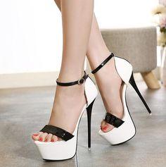 c5bb53531cf Fashion Women Round Toe Height Platform Extreme High Heels Shoes 16CM Sexy  Pumps Nightclub Evening Party Red Black 40