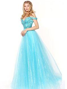 A-Line/Princess Off-the-Shoulder Sleeveless Floor-Length Beading Organza Dresses JollyProm