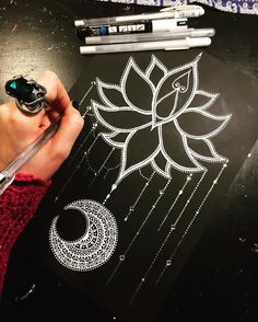 Starting another replica of a wee lotus flower and moon mandala . currently adding lots of spar - kat_dunlop Mandala Stencils, Flower Pattern Drawing, Star Tattoo Designs, Mandala, Dot Art Painting, Black Paper Drawing, Gel Pen Art, Dream Catcher Drawing, Moon Drawing