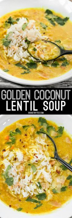 Coconut Lentil Soup - Vegan - Budget Bytes Golden Coconut Lentil Soup is a light and fresh bowl with vibrant turmeric and a handful of fun toppings.Golden Coconut Lentil Soup is a light and fresh bowl with vibrant turmeric and a handful of fun toppings. Coconut Lentil Soup, Vegan Lentil Soup, Vegan Soups, Vegetarian Recipes, Healthy Recipes, Delicious Recipes, Tasty Recipe, Lentil Stew, Lentil Salad