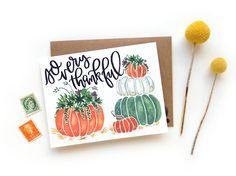 Succulent Pumpkin Watercolor Thanksgiving Card