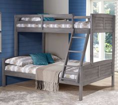 Available Mid March 2016! Make a style statement with the Louver Bunk Bed with built-in ladder. The rustic antique gray finish lends a stylish look to your decor. The bunk bed has a solid wood constru
