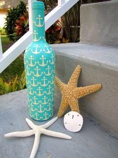 Aqua Nautical Anchor Inspired Upcycled Glass Bottle