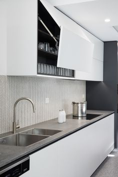New 2018 Design Excava™ featured as a back benchtop and splashback, combined with the latest concrete designs from The… Plywood Kitchen, Concrete Kitchen, Caesarstone Concrete, Modern Laundry Rooms, Gray And White Kitchen, Diy Kitchen Remodel, Custom Made Furniture, Concrete Design, Interior Design Living Room