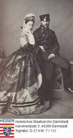 Grand Duchess Alice and Grand Duke Ludwig of Hesse (Darmstadt) and by Rhine in the 1860s.A♥W