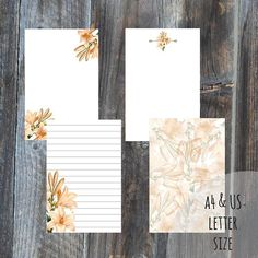 Letter writing set 4 sheets A4 & US letter size digital file