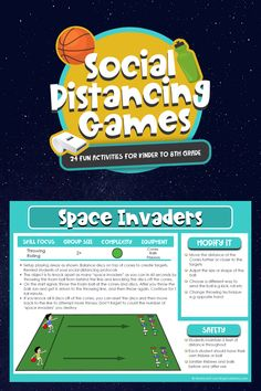 Download 24 Fun Social Distancing Games for Kindergarten to 8th Grade! Fun Group Activities for PE Class, Recess, or After-School Programs. Kids Stay 6 Feet Apart! Pe Games Elementary, Elementary Physical Education, Kids Education, Pe Class, Class Games, School Games, Childcare Activities, Group Activities, Fun Activities For Kids