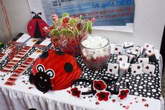 Anabelle L's Birthday / Black,White, and Red Ladybug - Photo Gallery at Catch My Party First Birthday Parties, Birthday Party Themes, Girl Birthday, First Birthdays, Birthday Ideas, Event Ideas, Ideas Party, Ladybug Party, Party Fun