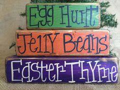 Primitive Country Egg Hunt Jelly Beans Easter Thyme Shelf Sitter Wood Block Set #CountryPrimitiveRustic #DoughandSplinters