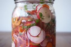 Pickled Radishes, Carrots and Jalepenos -   Was looking for something to go with pork tacos.  Yum!  Was nicely pickled after 3 hours.