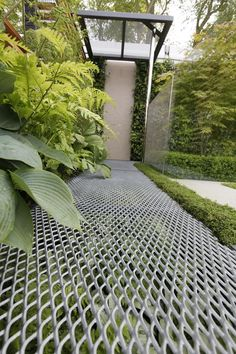 Garden Gallery- RHS Chelsea Flower Show 2009 - Eco Chic, grating as walkway surface. Could make this a stormwater management area by diverting the under the mesh,