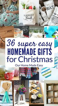 Here are more than 35 easy homemade gifts for you to make! Whether it's home decor, kitchen, or food, you have choices! Check out all the DIY gifts here! #christmas