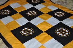 Made to Order Boston Bruins Baby Quilt by SwedishCreations on Etsy, $110.00