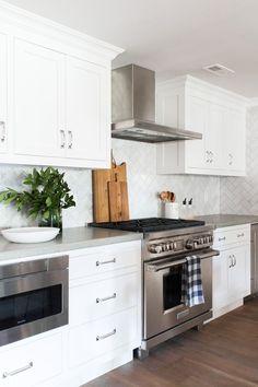 Marble Herringbone Backsplash and Concrete Counters || Studio McGee