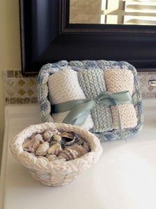 Bathroom Set made with the Basket Frame    #basketframe #basket #yarn #cloverusa