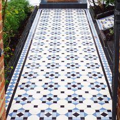 London Mosaic | Hallington | Victorian Octagon Tiling #tiles #ceramic #pathway #londonmosaic Front Garden Entrance, Front Garden Path, Front Path, Victorian Tiles, Victorian House, Tiles London, Hall Tiles, Unique Tile, Tile Installation