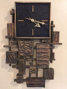 RARE 1960's SYROCO Mid Century Modern Brutalist Wall Clock Jere Paul Evans Era in | eBay