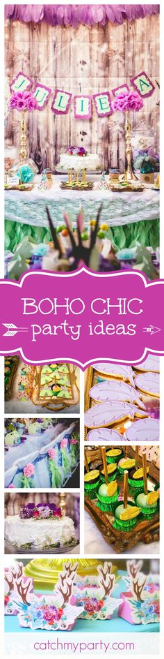 Take a look at this fabulous Boho Chic 1st birthday party. The table settings are stunning!! See more party ideas and share yours at CatchMyParty.com