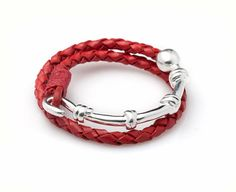 Unisex Kabbalah Red Woven Leather Bracelet with Silver Half Moon and Red String - 2 Hoops - Customizable & Handmade per Order