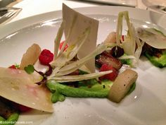 Salad of fennel, grapefruit, raspberry, parmesan, turnip, and duck foie gras at 3 Michelin star Les Menus in Moscow