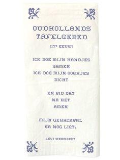 Aan tafel - Poëtisch tafelen - poëzieservet Oudhollands tafelgebed