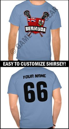 Is it a t-shirt, is it a sports jersey? No it's a #shirsey! Easily customize this t-shirt with your own choice of name and number. More original sports apparel & gifts @ http://www.zazzle.com/gamefacegear*/ #lacrosseshirsey #lacrosse #lacrossetshirts#bermuda