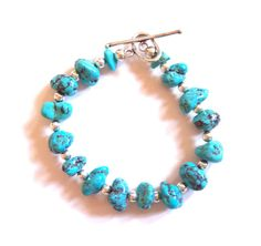 Check out BRACELET, TURQUOISE.  Women's Southwest Style Sterling Silver and Turquoise Nuggets Bracelet.  Free Shipping. on colorsofthesouthwest