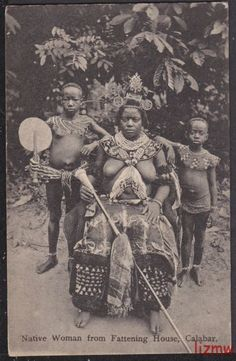 """Native Woman From Fattening House, Calabar"" Vintage postcard, South east Nigeria, circa"