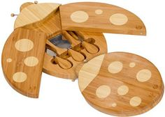 """Don't let this whimsical Ladybug shaped cheese board and tool set by Picnic Plus fly away! Our unique shaped renewable Bamboo board has a double swivel out """"wings"""" revealing 3 Bamboo handle stainless steel cheese tools. Ladybugs are known for bringing good luck, so while... - http://kitchen-dining.bestselleroutlet.net/product-review-for-ladybug-shaped-bamboo-cheese-board-and-tool-set-by-picnic-plus/"""