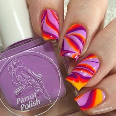 I love my neons for water marbling so I had to do one with the new colors and my new bottles of two older purple releases! Water Marbling, Autumn Nails, Parrot, Diys, Nail Polish, Neon, Bottles, My Love, Purple
