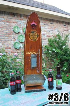 Series of 8: Repurposed / Upcycled Vintage Wooden Water Ski Beer & Soda Bottle Opening Stations - JUNKMARKET Style