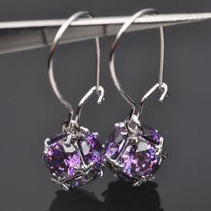 Silver Jewelry Unusual Purple Cubic Zirconia Drop Earrings For Women Free Shipping  P02142
