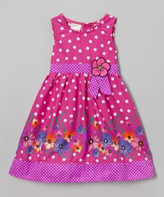Look what I found on #zulily! Magenta Polka Dot Floral Dress - Infant, Toddler & Girls by Longstreet #zulilyfinds