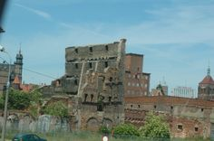 """Still visible are the remains of buildings that were destroyed in WWII. Gdansk, Poland. Princess """"Star"""" Ship."""