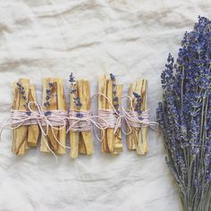 Made up some pretty palo santo bundles for the shop - wrapped in rose pink hemp cord & dried lavender from last summer's garden.