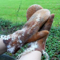 Felted Mittens Autumn Woodlands with curly by feltersjourney
