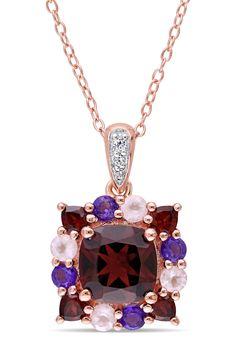 Multi Semi-Precious Stone Motif Pendant Necklace on @HauteLook