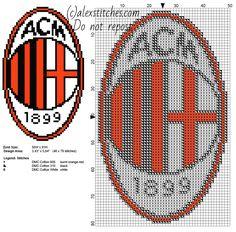 Milan soccer team logo badge free cross stitch pattern 48 x 79 stitches 3 DMC threads - free cross stitch patterns by Alex Hama Beads Patterns, Beading Patterns, Crochet Patterns, Fc Bacelona, Ac Milan Logo, Pixel Art, Logo Club, Arsenal, Liverpool