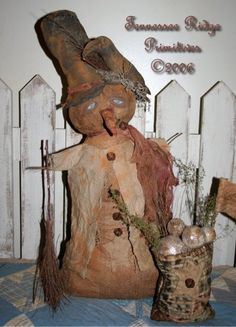 TRP Primitive Grungy Snowman Door Greeter Doll With Snowballs forsale E-pattern $7.00
