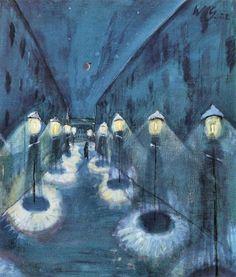 "blastedheath: "" german-expressionists Walter Gramatté (German, Nächtliche Strasse [Street by Night], Oil on canvas, x cm. Nocturne, Canvas Artwork, Canvas Prints, Karl Schmidt Rottluff, Illustration Arte, A Silent Voice, Night Pictures, Magic Realism, Painting Gallery"
