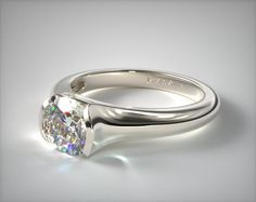engagement rings, tension, 14k white gold tapered half bezel engagement ring item 63048