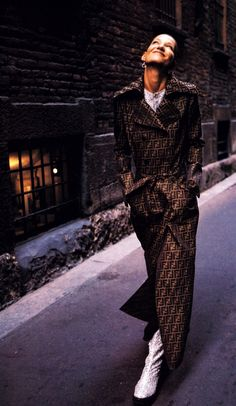 1996-97 - Karl Lagerfeld for Fendi, logo raincoat  American Vogue, October 1996.